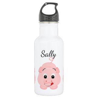 Leuk Weinig Roze Gepersonaliseerde Piggy Waterfles
