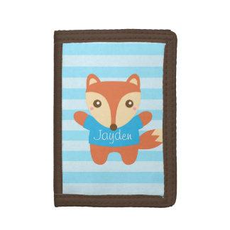 Leuk weinig vos in blauw, Naam, voor Kind Drievoud Portemonnee