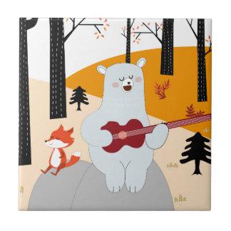 Leuk zing een een de voswolf en teddybeer van het tegeltje