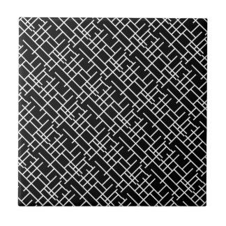 Leuk zwart wit abstract ontwerp keramisch tegeltje