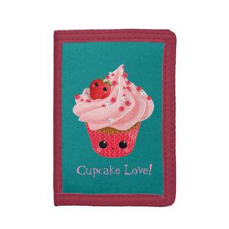 Leuke Aardbei Cupcake Drievoud Portemonnee