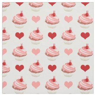 leuke aardbei cupcakes en harten stof