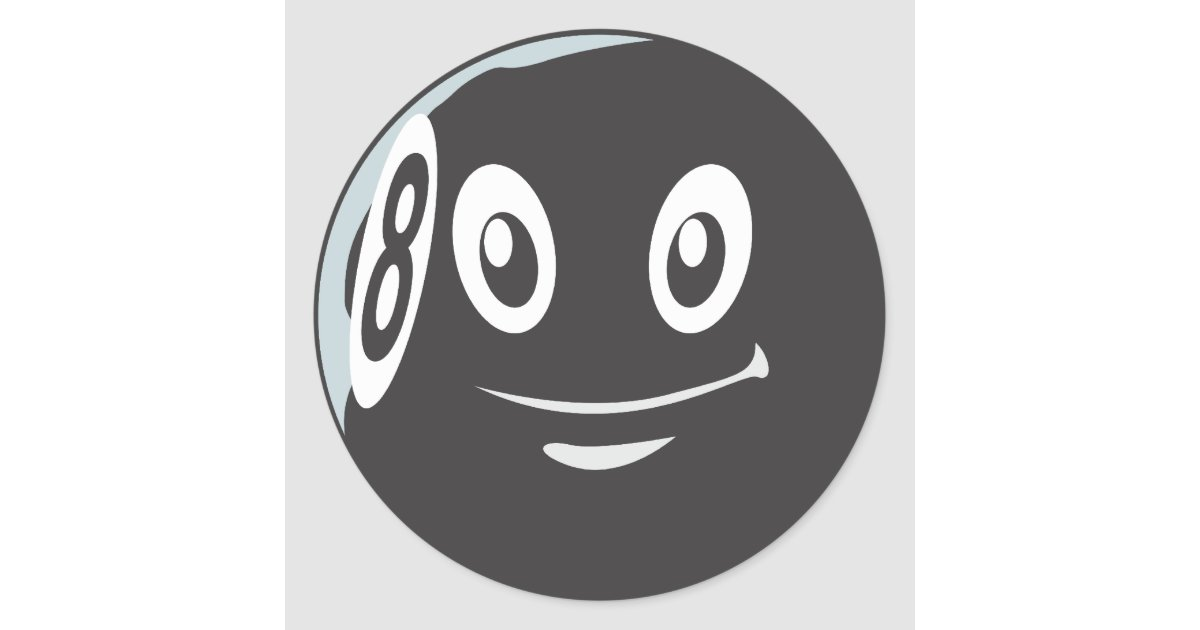 Leuke acht de cartoon van het biljart van 8 bal ronde sticker zazzle - Decoratie biljart ...
