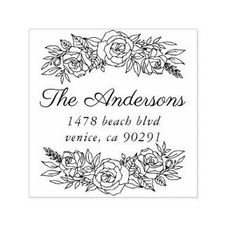 Leuke adreszegel met kroon van rozen  zelfinktende stempel