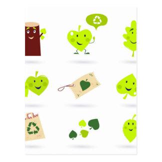 Leuke bio kinder groene pictogrammen briefkaart