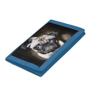 leuke blauw-eyed pug drievoud portemonnee