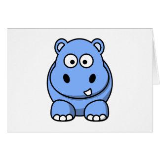 Leuke Blauwe Hippo Notitiekaart
