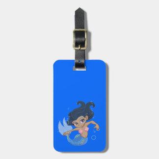Leuke Blauwe Meermin (donker haar, donkere huid) Bagagelabel
