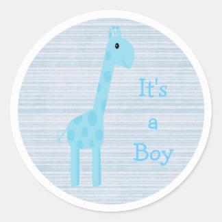 Leuke Blauwe Zijn Giraf een Nieuw Baby van de Ronde Stickers