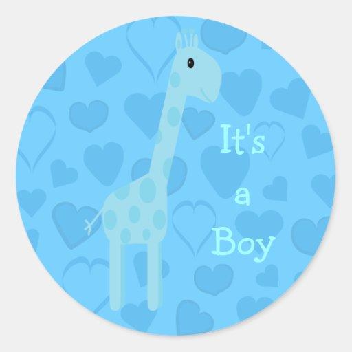 Leuke Blauwe Zijn Giraf & Harten een Nieuw Baby Ronde Sticker