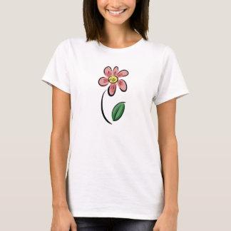 Leuke bloemen de schetskrabbel van de bloemcartoon t shirt