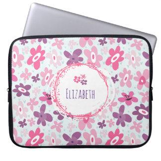 Leuke Capricieus van roze Bloemen en van Blauwe Computer Sleeve