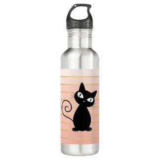 Leuke Capricieuze Zwarte Kat op Strepen Waterfles
