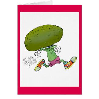 Leuke cartoon lopende Broccoli, op een groetkaart Briefkaarten 0