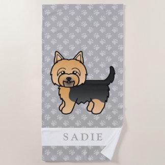 Leuke Cartoon Yorkshire Terrier & Grijze de Naam Strandlaken