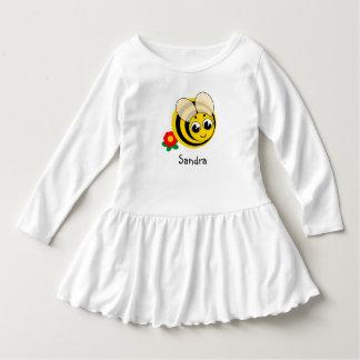 Leuke cartoon zwarte en gele gestreepte hommel, baby jurk