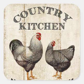 Leuke de keukenHaan en kip van het Boerderij Vierkante Sticker
