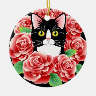 Leuke de Liefde van de Kat van de smoking nam kat Rond Keramisch Ornament