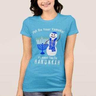 Leuke de Sneeuwman van de Chanoeka Gezet op Uw T Shirt