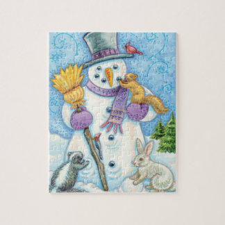 Leuke Dieren die een Sneeuwman bouwen voor Puzzel