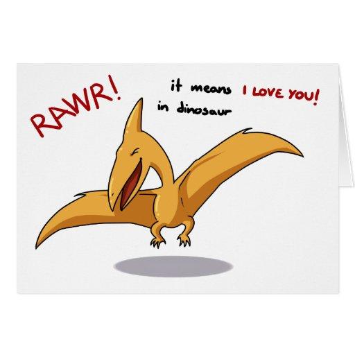 leuke dinosaurus rawr middelen I liefde u Wenskaarten