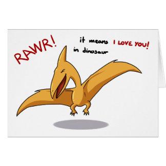 leuke dinosaurus rawr middelen I liefde u Wenskaart