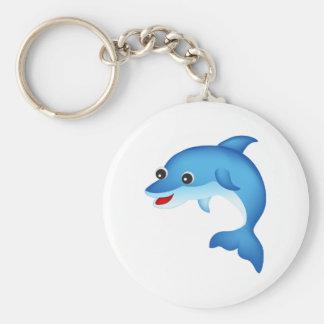 Leuke dolfijn basic ronde button sleutelhanger