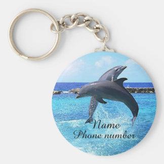 Leuke dolfijnen in het zee basic ronde button sleutelhanger