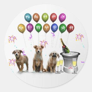 Leuke Drie Honden die Gelukkig Nieuwjaar 2016 Ronde Sticker