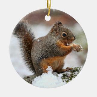 Leuke Eekhoorn in de Foto van de Sneeuw Rond Keramisch Ornament