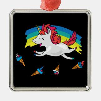 Leuke Eenhoorn met regenboog koele illustratie Zilverkleurig Vierkant Ornament