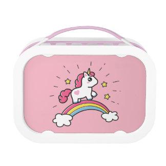 Leuke Eenhoorn op een Ontwerp van de Regenboog Lunchbox