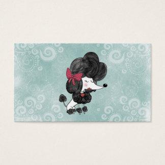 Leuke elegante Franse poedel girly cartoon Visitekaartjes