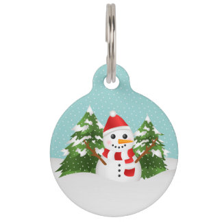 Leuke en Feestelijke Sneeuwman met Kerstmis van Huisdierpenning