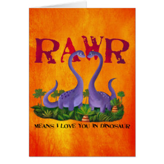 Leuke en Romantische Dinos - Rawr Wenskaarten
