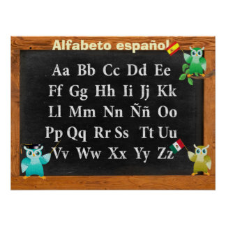 Leuke español van Professor Owl Buho Alfabeto Poster
