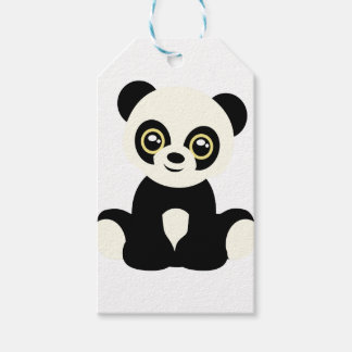 Leuke geïllustreerde panda cadeaulabel