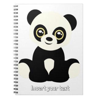 Leuke geïllustreerde panda ringband notitieboek