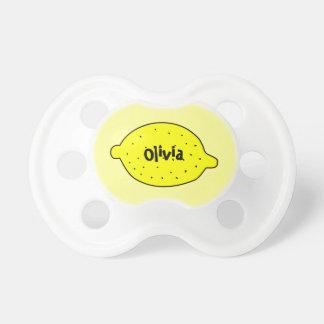 Leuke gele citroenfopspeen met babynaam speen