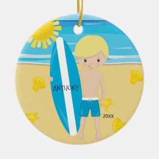 Leuke Gepersonaliseerde Kerstmis van Surfer van de Rond Keramisch Ornament