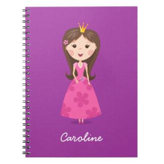 Leuke girly roze gepersonaliseerde prinses op paar ringband notitieboek