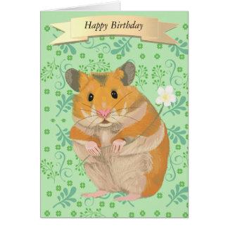 Leuke Gouden Hamster die een Bloem houden Briefkaarten 0