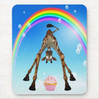 Leuke, Grappige Giraf, Cupcake & Regenboog Muismatten