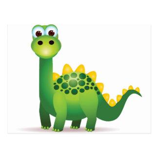 Leuke groene dinosauruscartoon briefkaart