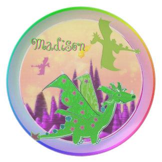 Leuke Groene Draak met klantgerichte Naam Madison Diner Bord