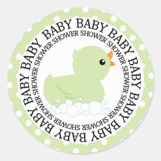 Leuke Groene Eend met Baby shower Polkadots Ronde Sticker