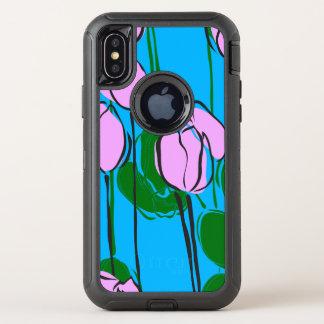 Leuke Hand Getrokken Roze Tulpen op het Blauw van OtterBox Defender iPhone X Hoesje