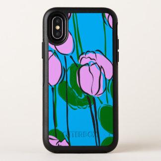 Leuke Hand Getrokken Roze Tulpen op het Blauw van OtterBox Symmetry iPhone X Hoesje