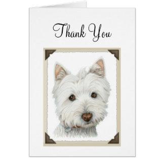 Leuke Hond Westie met gescheurd document Briefkaarten 0