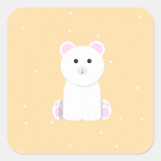 Leuke Ijsbeer Vierkante Sticker